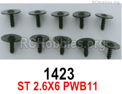 Wltoys 16800 1423 Screws. ST 2.6x6PWB11. Total 10pcs. Round head Self-tapping screws with Media Cap.