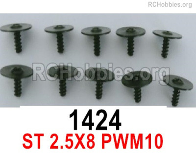Wltoys 16800 1424 Screws. ST 2.5x8PWM10. Total 10pcs. Round head Self-tapping screws with Media Cap.