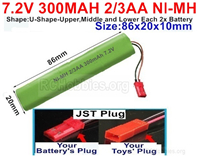 7.2V 300MAH NiMH Battery Pack, 7.2 Volt 300MAH Ni-MH Battery 2/3AA With JST Connector
