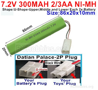 7.2V 300MAH NiMH Battery Pack, 7.2 Volt 300MAH Ni-MH Battery 2/3AA With 2P Standard Tamiya Connector. The D Shape hole is Black wire.