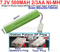 7.2V 500MAH NiMH Battery Pack, 7.2 Volt 500MAH Ni-MH Battery 2/3AA With 2P Standard Tamiya Connector. The D Shape hole is Black wire.