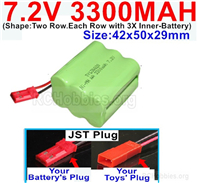 7.2V 3300MAH NiMH Battery Pack, 7.2 Volt 3300MAH Ni-MH Battery With JST Connector