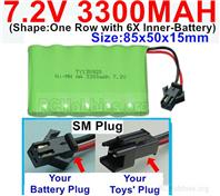 7.2V 3300MAH NiMH Battery Pack, 7.2 Volt 3300MAH Ni-MH Battery With SM Connector
