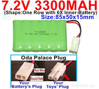 7.2V 3300MAH NiMH Battery Pack, 7.2 Volt 3300MAH Ni-MH Battery With 2P EL Small Mini Tamiya Connector. Round hole Red Wire.