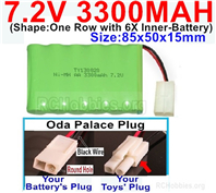 7.2V 3300MAH NiMH Battery Pack, 7.2 Volt 3300MAH Ni-MH Battery With 2P EL Small Mini Tamiya Connector. Round hole Black Wire.