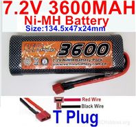 7.2V 3600MAH NiMH Battery Pack, 7.2 Volt 3600mah Ni-MH Battery AA With T Connector, Deans Connector.