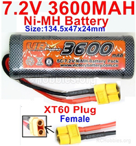 7.2V 3600MAH NiMH Battery Pack, 7.2 Volt 3600mah Ni-MH Battery AA With XT60 Connector Female Connector