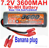 7.2V 3600MAH NiMH Battery Pack, 7.2 Volt 3600mah Ni-MH Battery AA With Banana Connector