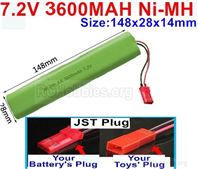 7.2V 3600MAH NiMH Battery Pack, 7.2 Volt 3600MAH Ni-MH Battery AA With JST Connector