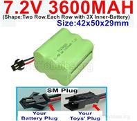 7.2V 3600MAH NiMH Battery Pack, 7.2 Volt 3600MAH Ni-MH Battery With SM Connector