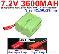 7.2V 3600MAH NiMH Battery Pack, 7.2 Volt 3600MAH Ni-MH Battery With JST Connector