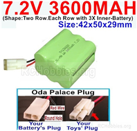7.2V 3600MAH NiMH Battery Pack, 7.2 Volt 3600MAH Ni-MH Battery With 2P EL Small Mini Tamiya Connector. Round hole Red Wire.
