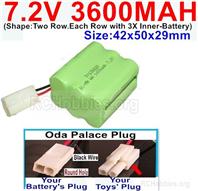 7.2V 3600MAH NiMH Battery Pack, 7.2 Volt 3600MAH Ni-MH Battery With 2P EL Small Mini Tamiya Connector. Round hole Black Wire.