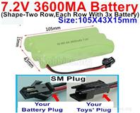 7.2V 3600MAH NiMH Battery Pack, 7.2 Volt 3600MAH Ni-MH Battery AA With SM Connector