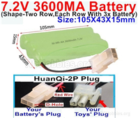 7.2V 3600MAH NiMH Battery Pack, 7.2 Volt 3600MAH Ni-MH Battery AA With HuanQi 2P Connector. The D Shape Hole is Red Wire.