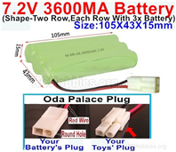 7.2V 3600MAH NiMH Battery Pack, 7.2 Volt 3600MAH Ni-MH Battery AA With 2P EL Small Mini Tamiya Connector. Round hole Red Wire.