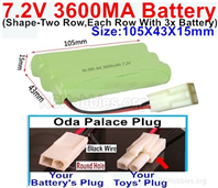 7.2V 3600MAH NiMH Battery Pack, 7.2 Volt 3600MAH Ni-MH Battery AA With 2P EL Small Mini Tamiya Connector. Round hole Black Wire.
