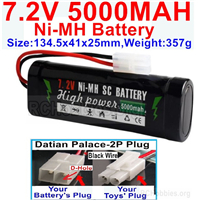 7.2V 5000MAH NiMH Battery Pack, 7.2 Volt 5000mah Ni-MH Battery AA With 2P Standard Tamiya Connector. The D Shape hole is Black wire.
