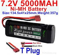 7.2V 5000MAH NiMH Battery Pack, 7.2 Volt 5000mah Ni-MH Battery AA With T Connector, Deans Connector. . Horizontal Red wire,Vertical Black Wire.