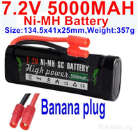 7.2V 5000MAH NiMH Battery Pack, 7.2 Volt 5000mah Ni-MH Battery AA With Banana Connector