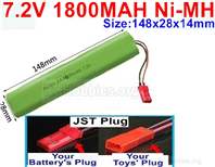 7.2V 1800MAH NiMH Battery Pack, 7.2 Volt 1800MAH Ni-MH Battery AA With JST Connector