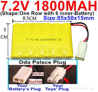 7.2V 1800MAH NiMH Battery Pack, 7.2 Volt 1800MAH Ni-MH Battery AA With 2P EL Small Mini Tamiya Connector. Round hole Red Wire.