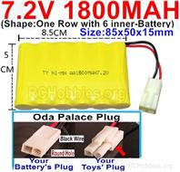 7.2V 1800MAH NiMH Battery Pack, 7.2 Volt 1800MAH Ni-MH Battery AA With 2P EL Small Mini Tamiya Connector. Round hole Black Wire.