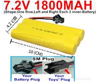 7.2V 1800MAH NiMH Battery Pack, 7.2 Volt 1800MAH Ni-MH Battery AA With SM Connector