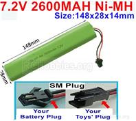 7.2V 2600MAH NiMH Battery Pack, 7.2 Volt 2600MAH Ni-MH Ni-MH Battery AA With SM Connector