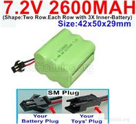 7.2V 2600MAH NiMH Battery Pack, 7.2 Volt 2600MAH Ni-MH Battery AA With SM Connector