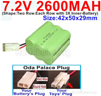 7.2V 2600MAH NiMH Battery Pack, 7.2 Volt 2600MAH Ni-MH Battery AA With 2P EL Small Mini Tamiya Connector. Round hole Red Wire.