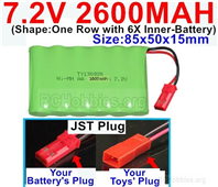7.2V 2600MAH NiMH Battery Pack, 7.2 Volt 2600MAH Ni-MH Battery AA With JST Connector