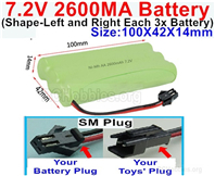 7.2V 2600MAH NiMH Battery Pack, 7.2 Volt 2600MAH Ni-MH Battery AA With SM Connector. The D Shape hole is Black wire.