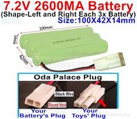 7.2V 2600MAH NiMH Battery Pack, 7.2 Volt 2600MAH Ni-MH Battery AA With 2P EL Small Mini Tamiya Connector. Round hole Black Wire.