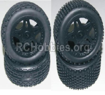 HBX Survivor MT Parts-Front and Rear Wheels Complete(4PCS)-(Include the Wheel hub and Tire lether) Parts-12056 12039