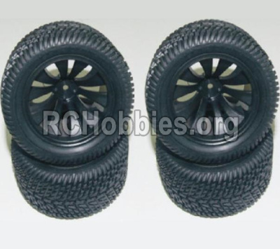HaiBoXing HBX 12812 Parts-Wheel Parts-Wheels Complete(4PCS)-(Include the Wheel hub and Tire lether) Parts-12056