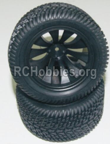 HaiBoXing HBX 12812 Parts-Wheel Parts-Wheels Complete(2PCS)-(Include the Wheel hub and Tire lether) Parts-12056