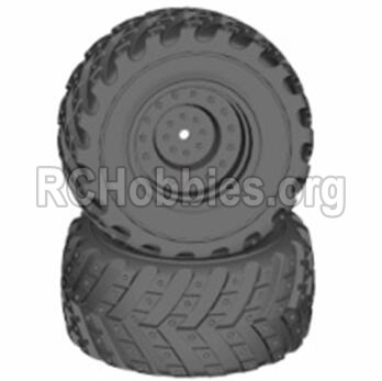 HBX 12813 Parts-Wheels Parts-Wheels Complete(2PCS)-(Include the Wheel hub and Tire lether) Parts-12621