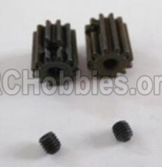 HBX 12881 VORTEX Parts-Motor Pinion Gears(2pcs)-13Teeth & Set Screws-3X3mm(2pcs) Parts-12026
