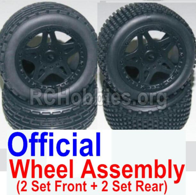 HBX 12881 VORTEX Parts-Wheel Parts-Official Front and Rear wheel assembly(4 set)-Include Tire lether and wheel hub Parts-12036+12039