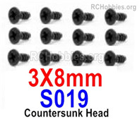 HaiBoXing HBX 12895 Screws Parts-Countersunk Head Screws, 3x8mm. S019