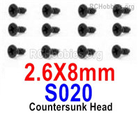 HaiBoXing HBX 12895 Screws Parts-Countersunk Head Screws, 2.6x8mm. S020