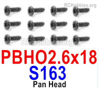HaiBoXing HBX 12895 Screws Parts-Round Head Screws, PBHO 2.6x18mm. S163