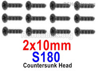 HaiBoXing HBX 12895 Screws Parts-Countersunk Head Screws, 2x10mm. S180