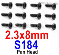 HaiBoXing HBX 12895 Screws Parts-Round Head Screws, 2.3x8mm. S184