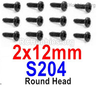HaiBoXing HBX 12895 Screws Parts-Round Head Screws, 2x12mm. S204