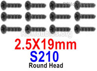 HaiBoXing HBX 12895 Screws Parts-Round Head Screws, 2.5x19mm. S210