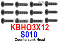 HaiBoXing HBX 12895 Parts-Countersunk Head Screws, KBHO3x12mm. S010