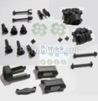 HBX 2118 Parts-Motor Seat & Battery Cover & Dogbones & Diff. Small Bevel Gears & Wheel Shafts & Outdrive Cups Parts-25004R
