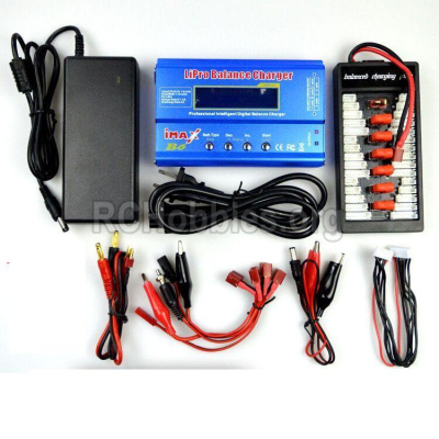 HBX T6 1/6 RC Desert Buggy Parts-Charger Parts-Upgrade Charger unit,Can charger 6x battery at the same time(Power & B6 Charger & 1-To-6 Parallel charging Board) Parts TS008